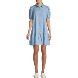 Saks Fifth Avenue Women's Puffed-Sleeve Mini Shirtdress - White - Size M found on Bargain Bro from Saks Fifth Avenue OFF 5TH for USD $37.99