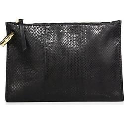 Joni Snakeskin-Embossed Leather Clutch