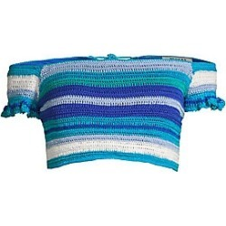 All Things Mochi Women's Jamie Crochet Stripe Off-The-Shoulder Bikini Top - Blue - Size Small found on MODAPINS from Saks Fifth Avenue for USD $179.00