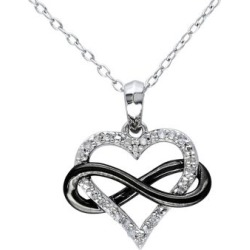 Sterling Silver 0.1 TCW Diamond Heart Infinity Necklace