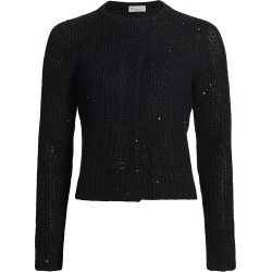 Brunello Cucinelli Women's Sequin Detail Long Sleeve Top - Black - Size Medium found on MODAPINS from Saks Fifth Avenue for USD $1295.00