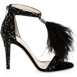 Viola Crystal & Ostrich Feather Stilettos found on MODAPINS from Saks Fifth Avenue for USD $1895.00