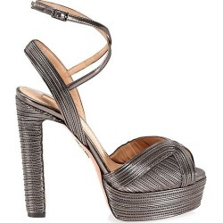Aquazzura Women's Caprice Metallic Leather Platform Sandals - Anthracite - Size 35.5 (5.5) found on MODAPINS from Saks Fifth Avenue for USD $995.00