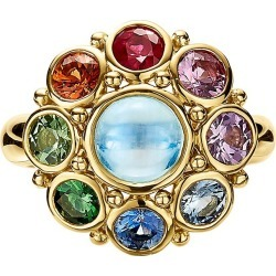 Temple St. Clair Women's Celestial 18K Yellow Gold & Multi-Stone Stella Cluster Ring - Size 6.5