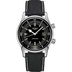 Longines The Longines Legend Diver Automatic Leather-Strap Watch - Black found on MODAPINS from Saks Fifth Avenue for USD $2300.00