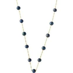Collier en or jaune 14 K avec perles d'eau douce teintées rondes de 5,5 mm