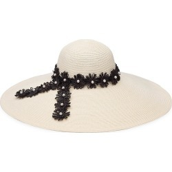 Eugenia Kim Women's Sunny Embellished Flower Band Paper Straw Sun Hat - Ivory found on MODAPINS from Saks Fifth Avenue for USD $475.00