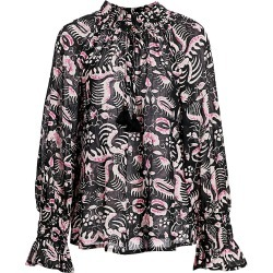 Figue Women's Global Caravan Lianna Print Blouse - Balinese Black - Size Large found on MODAPINS from Saks Fifth Avenue for USD $118.50