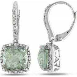 Pendants d'oreilles auréole en argent avec 5,33 ct PT d'améthyste verte et diamants
