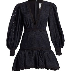 Acler Women's Montana Embroidery Flounce Mini Dress - Midnight - Size 2 found on MODAPINS from Saks Fifth Avenue for USD $165.82
