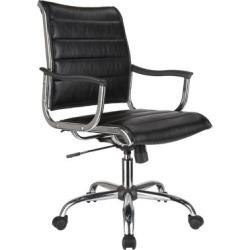Chaise de bureau en cuir à dossier moyen