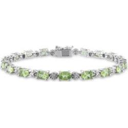 Bracelet en argent sterling avec péridots et diamants de 0,02 ct PT