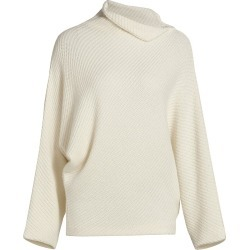 Agnona Women's Cashmere Ribbed Foldover Neck Sweater - Ivory - Size Medium found on MODAPINS from Saks Fifth Avenue for USD $1890.00