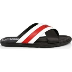 Stripe Leather Slider Sandals