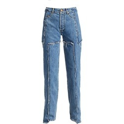 Vetements Women's Deconstructed Frayed Jeans - Blue - Size Large found on MODAPINS from Saks Fifth Avenue for USD $795.00