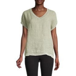 Saks Fifth Avenue Women's V-Neck Linen T-Shirt - Olive - Size XL found on Bargain Bro from Saks Fifth Avenue OFF 5TH for USD $30.39
