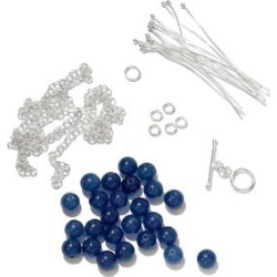 Gem Workshop Blue Quartz Silvertone Necklace Kit Total Gem Stone Weight 63.60 Carat