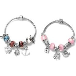 Set of 2 Chroma Multi Charm Bracelet in Black Oxidized Silvertone and Iron (7.50 In) found on Bargain Bro Philippines from Shop LC for $69.99