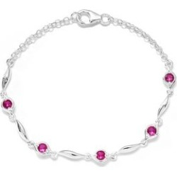 Simulated Red Diamond Station Bracelet in Sterling Silver (7.25 In) found on Bargain Bro Philippines from Shop LC for $69.99