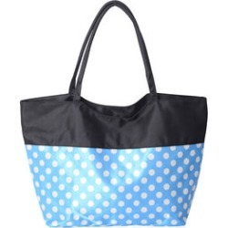 Blue and White Polka Dot Pattern Satin Tote with Black Trim (15x6x13.5) found on Bargain Bro from Shop LC for USD $22.79