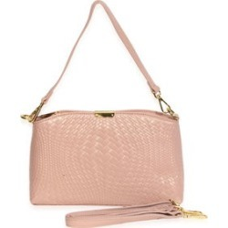 Mauve Multi Wear 100% Genuine Leather Woven Evening Bag (11.5x2.5x7) with Detachable Straps found on Bargain Bro India from Shop LC for $149.99