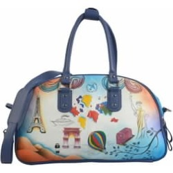 SUKRITI Blue World Tour Hand Painted 100% Genuine Leather Duffle Bag (18x7.5x11) with Removable Shoulder Strap (56) found on Bargain Bro India from Shop LC for $549.99