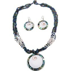Abalone Shell and Shiva Eye and Black Seed Bead Pendant Necklace and Drop Earrings in Stainless Steel 20 Inch found on Bargain Bro India from Shop LC for $79.99