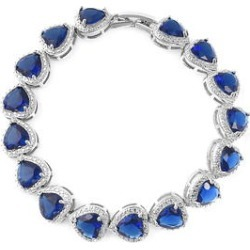 Simulated Blue Diamond Heart Bracelet in Silvertone (7.00 In) found on Bargain Bro Philippines from Shop LC for $79.99