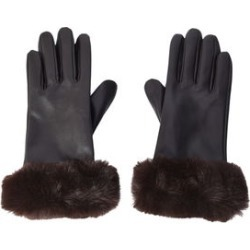 Brown Women's Faux Fur Leather Touchscreen Gloves (One Size, Polyester)