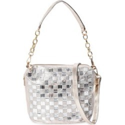 Golden Faux Leather Woven Rhinestone Crossbody Bag with Detachable Shoulder Straps (11x8x4) found on Bargain Bro from Shop LC for USD $75.99