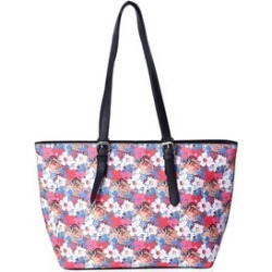 Value Buy Red, Pink, Multi Color Floral Abstract Pattern Faux Leather Tote Bag with Adjustable Straps (17x11x5) found on Bargain Bro from Shop LC for USD $75.99