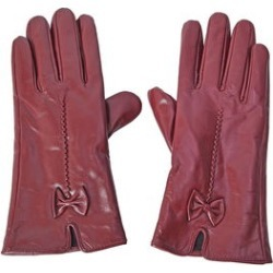 Burgundy Women's Bowtie Leather Touchscreen Gloves (One Size, Polyester)