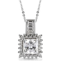 LUSTRO STELLA Platinum Over Sterling Silver Halo Pendant Neckalce (20 Inches) Made with Zirconia from Swarovski 4.50 ctw