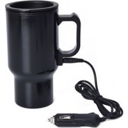 Heated Mug with 12V Car Adapter in Stainless Steel -Black 16 oz found on Bargain Bro India from Shop LC for $29.99