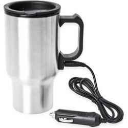 Heated Mug with 12V Car Adapter in Stainless Steel -Silver (16 oz) found on Bargain Bro India from Shop LC for $29.99