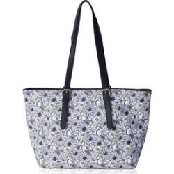 Blue, Multi Color Floral Pattern Faux Leather Tote Bag with Adjustable Straps (17x11x5) found on Bargain Bro from Shop LC for USD $91.19