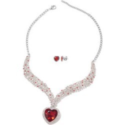 Simulated Red Quartz and White and Red Austrian Crystal Heart Stud Earrings and V-Shape Necklace Inch in Silvertone found on Bargain Bro India from Shop LC for $79.99
