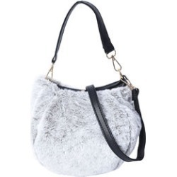 Gray Faux Fur Bucket Bag with Adjustable Shoulder Strap (9x4x7 in) found on Bargain Bro India from Shop LC for $149.99