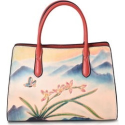 Red with Hand Engraving Flower and Butterfly Pattern 100% Genuine Leather Tote Bag (13.3x4.4x9.2) found on Bargain Bro from Shop LC for USD $691.59