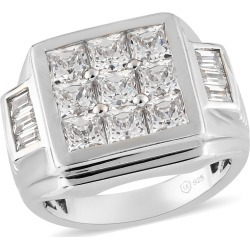 LUSTRO STELLA Platinum Over Sterling Silver Men's Ring (Size 11.0) Made with Zirconia from Swarovski 11.45 Grams 7.10 ctw