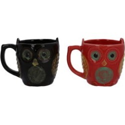 Set of 2 Red and Black Ceramic Owl Coffee Mug found on Bargain Bro from Shop LC for USD $45.59