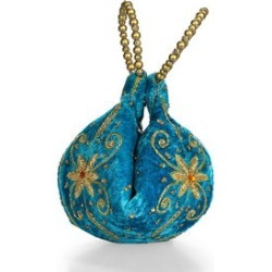 Turquoise Velvet Embroidered Daffodil Flower Potli Fortune Cookie Bag (6.5 in) found on Bargain Bro from Shop LC for USD $68.39