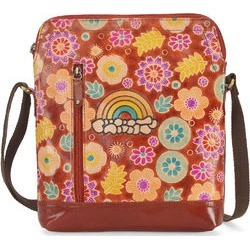 VIVID BY SUKRITI - Brown Vibrant Bloomy Flower Theme 100% Genuine Leather RFID Crossbody Sling Handbag with Adjustable Strap (12x11x1.75) found on Bargain Bro from Shop LC for USD $167.19