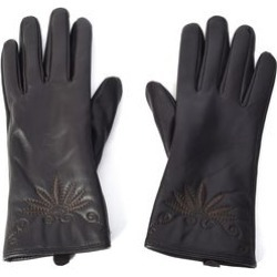 Charcoal Women's Stitched Leather Touchscreen Gloves (One Size, Polyester)