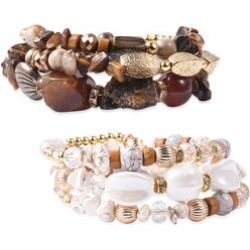 35.00 ctw Set of 2 South African Tigers Eye and Multi Gemstone Memory Wrap Bracelets in Goldtone
