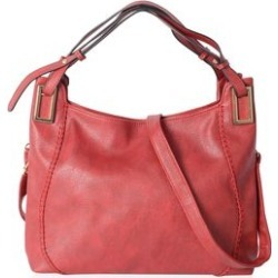 Red Faux Leather Hobo Bag (16x7x10 in) with Detachable Shoulder Strap (47 in) found on Bargain Bro from Shop LC for USD $91.19