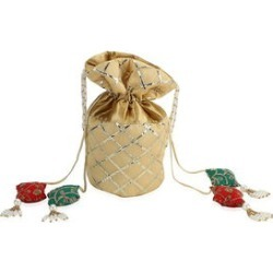 Golden Polyester Drawstring Potli Bag (10x8x4.5) found on Bargain Bro from Shop LC for USD $56.99