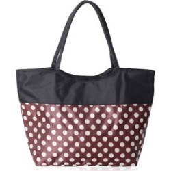 Brown and White Polka Dot Pattern Satin Tote with Black Trim (15x6x13.5) found on Bargain Bro India from Shop LC for $49.99