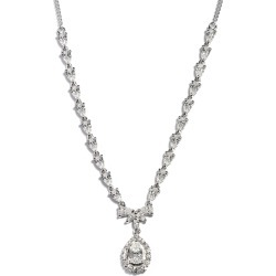 LUSTRO STELLA Platinum Over Sterling Silver Necklace 18 Inches Made with Zirconia from Swarovski 9.60 Grams 9.10 ctw