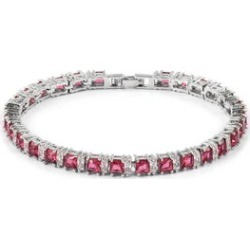 Simulated Fuchsia and White Diamond Tennis Bracelet in Silvertone (7.50 In) found on Bargain Bro Philippines from Shop LC for $79.99